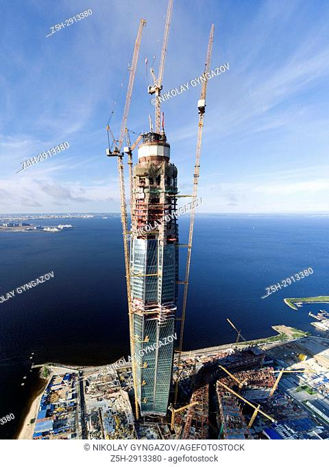 """The construction of the skyscraper office of """"""""Gazprom"""""""" in St. Petersburg. Russia. A bird's eye view"""