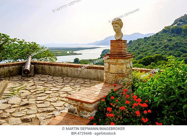 Apollo bust, Venetian castle, ancient city Butrint, Vivar Canal, Butrint National Park, near Saranda, Qarc Vlora, Albania
