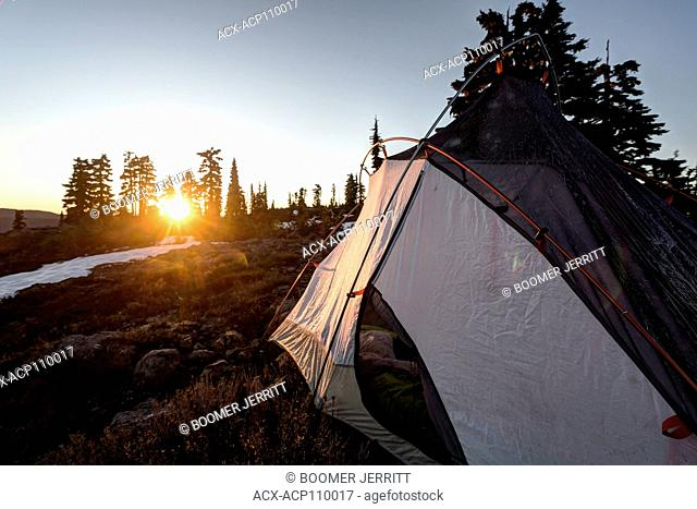 Early morning sunrise illimunates the side of a tent on Lee Plateau on Vancouver Island, British Columbia, Canada