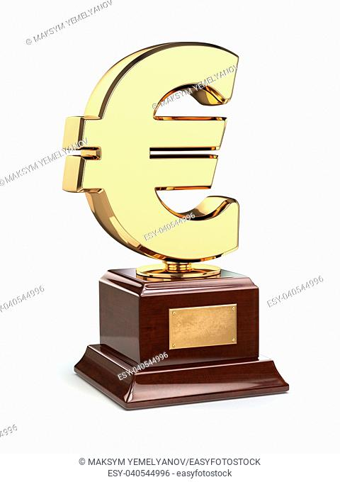 Golden dollar sign trophy cup isolated on white. 3d
