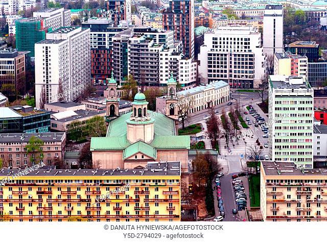 City center of Warsaw, in front Swietokrzyska street, behind - Grzybowski square - Plac Grzybowski with All Saints Church - Kosciol Wszystkich Swietych