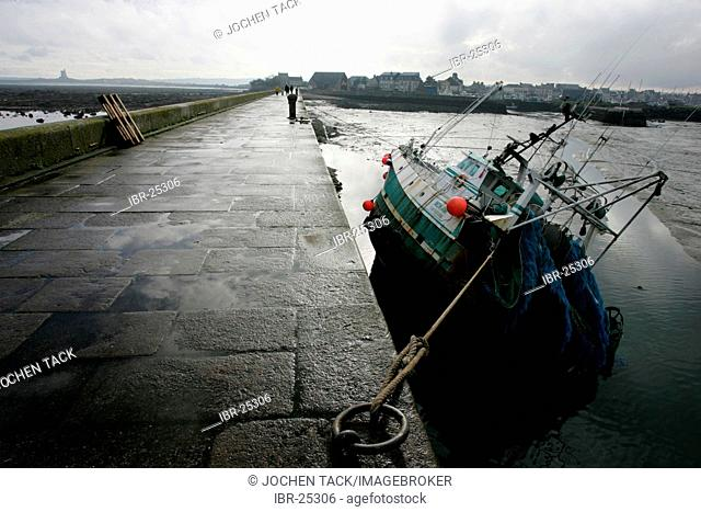 FRA, France, Normandy: Fishing boats in the port of St. Vaast La Hougue, at low tide