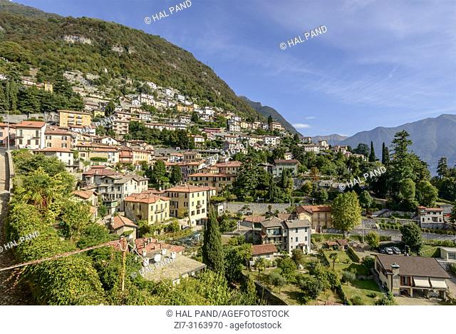 cityscape of hilly part of historical touristic village on Como lake, shot in bright fall light at Moltrasio, Italy