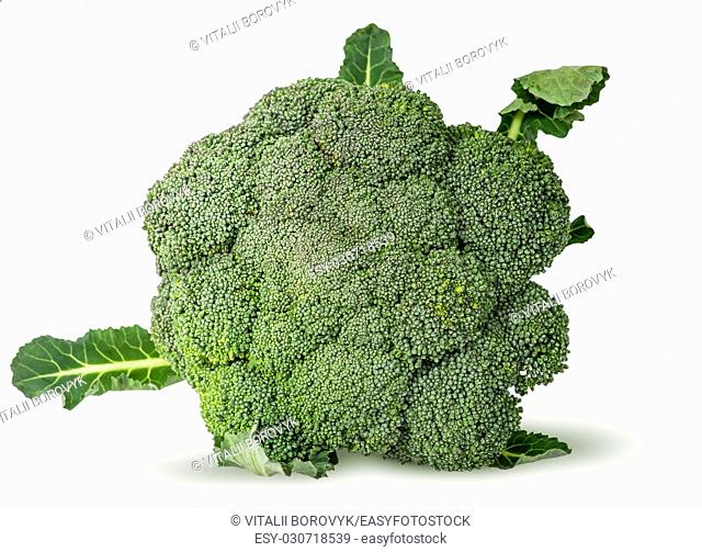 Large inflorescences of fresh broccoli with leaves top view isolated on white background