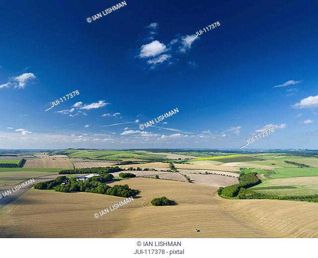Aerial Landscape Of English Farm Fields After Harvest
