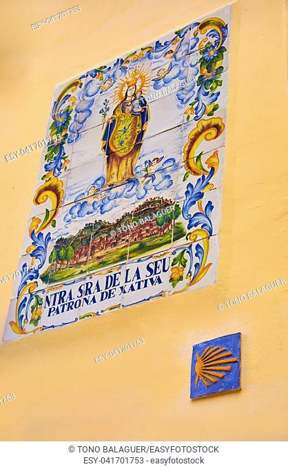 Camino de Santiago way sign in Xativa also Jativa Saint James Way of Levante