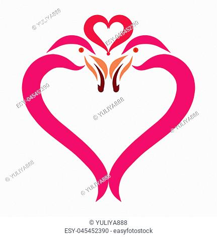 Heart of exotic birds, flamingos and love
