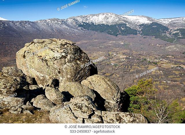 Sierra de la Morcuera from Hornillo hill in Bustarviejo. Madrid. Spain. Europe