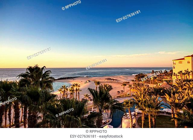 Sun rising on the horizon over the Sea of Cortez, Mexico