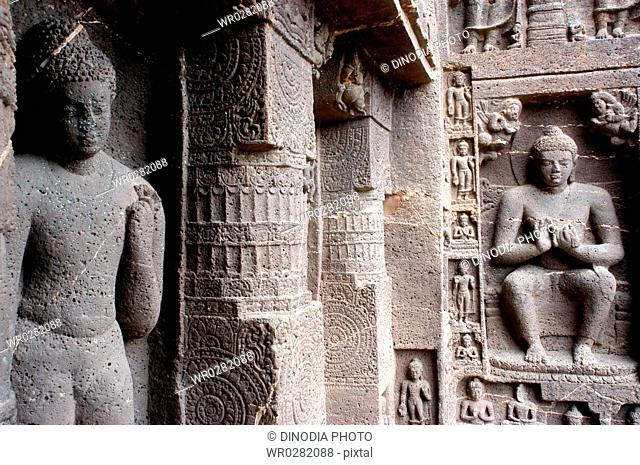Statues of Lord Buddha in different such as Standing Sitting posters in UNESCO World Heritage site Ajanta Caves in Maharashtra , India