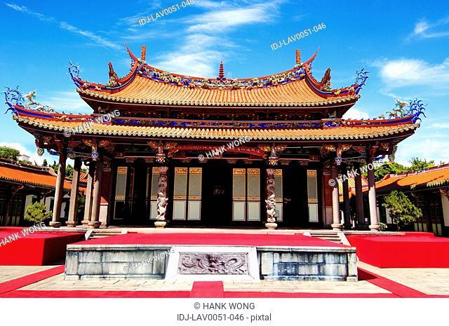 Facade of a temple, Taipei Confucius Temple, Taipei, Taiwan