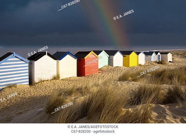 Beach Huts Southwold Suffolk UK March