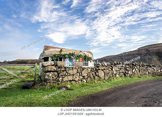 Shack with boat for roof at Calgary on the Isle of Mull
