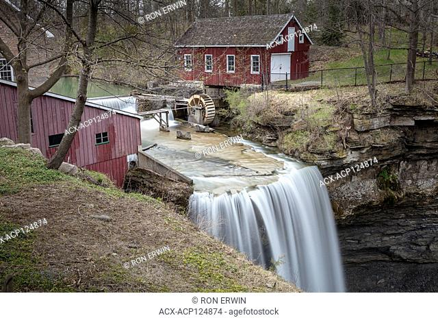 Upper DeCew Falls and the Morningstar Mill in St. Catherines, Ontario, Canada - a restored and operational 1872 water-powered grist mill on the Niagara...