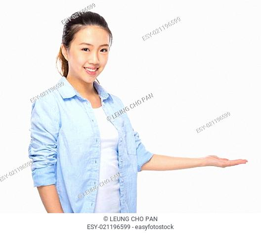 Young woman hand showing blank sign