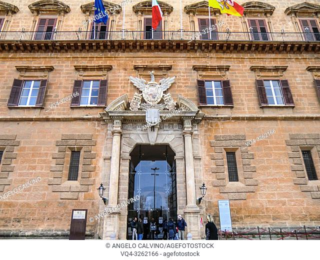 Palace of the Normans, Palazzo Reale or Palazzo dei Normanni, Main Entrance, Palermo, Sicily, Italy