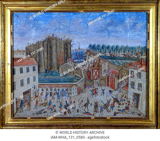 Storming of the Bastille by a crowd on 14 July 1789, in the French Revolution, becoming an important symbol for the French Republican movement