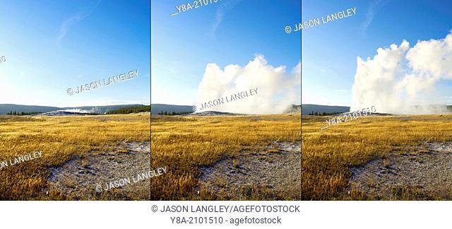 Three-frame composite image of Old Faithful Geyser eruption, Yellowstone National Park, UNESCO World Heritage Site, Wyoming, United States