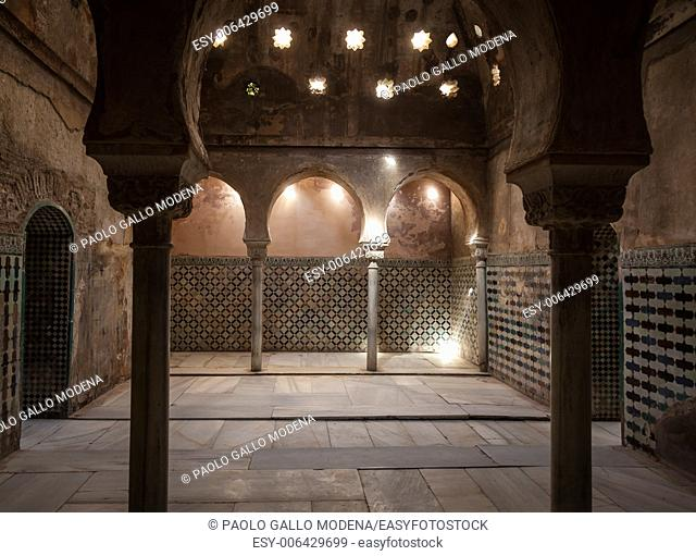Spain, Andalusia, Granada. Interior of Arabic Bathroom in Alhambra Palace