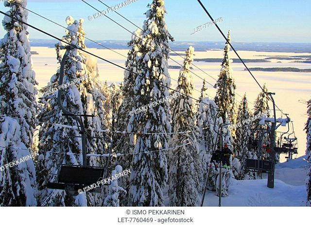 Ski lift in Koli National Park in Lieksa, Eastern FInland