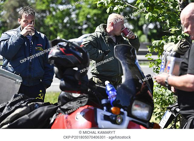 Tens of bikers from the Russian nationalist Russian Night Wolves motorcycle club and their followers met in Pruhonice near Prague in the Monday, May 7, 2018