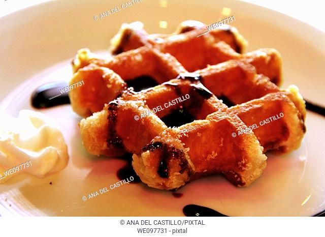 Belgian waffles  with cream and syrup, Gaufres, Belgium, Europe