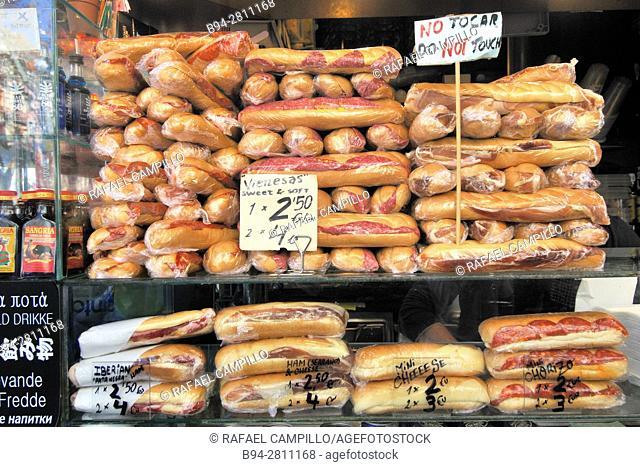 Sandwiches for sale. Sant Josep market (aka La Boqueria), Barcelona, Catalonia, Spain