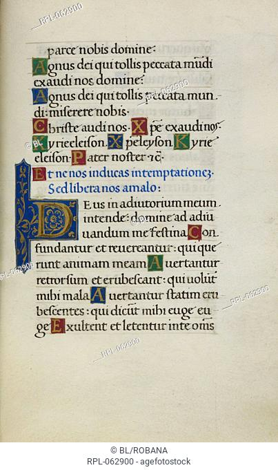 Text page with initial 'D' Whole folio Text page from the Litany with decorated initial 'D', petitions Image taken from Mirandola Hours