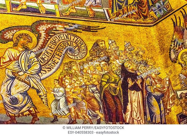 Angels Biblical Stories Mosaic Dome Bapistry Saint John Duomo Cathedral Church Florence Italy. Bapistry created 1050 to 1150, mosaics by Friar Jacobus in 1200s