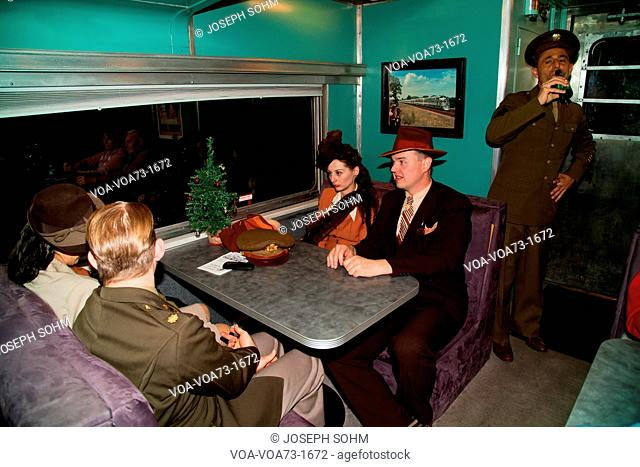 1940's reenactors interact on Pearl Harbor Day Troop train reenactment from Los Angeles Union Station to San Diego