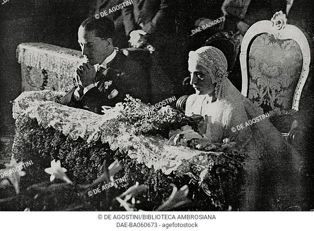 Edda Mussolini (1910-1995) and Galeazzo Ciano (1903-1944) by the altar of the church of San Giuseppe in Rome, Italy, during their marriage ceremony