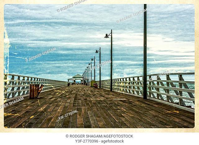 Shorncliffe pier. Boardwalk. Straight out to sea. Brisbane, Queensland, Australia