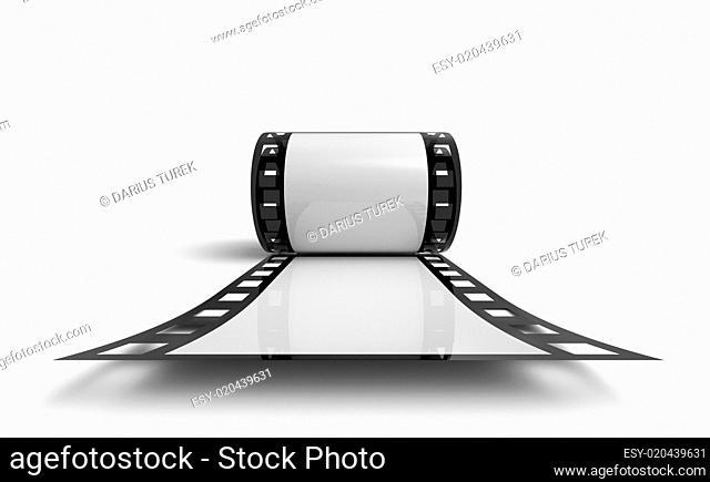3D Filmrolle - Schwarz Weiß Frontal Ansicht