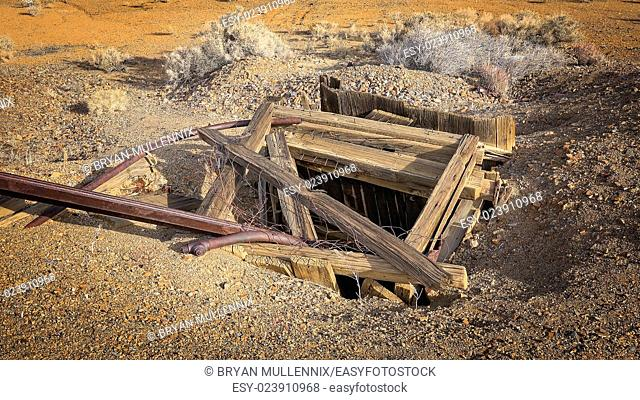 Abandoned mine shaft in the gold rush town of Randsburg, California a living ghost town