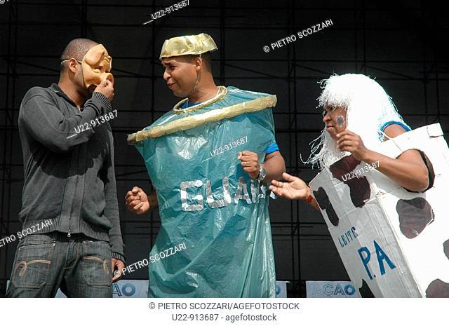Rio de Janeiro (Brazil): a play on recycling waste at the Sambodromo during a 'citizenship fair'