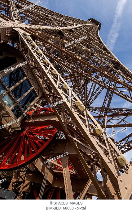 Low angle view of metal tower, Paris, Ile-de-France, France