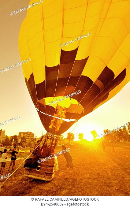 European Balloon Festival. The largest hot air balloon festival in Spain and one of the largest in Europe. Igualada, capital of Anoia Comarca, Catalonia, Spain