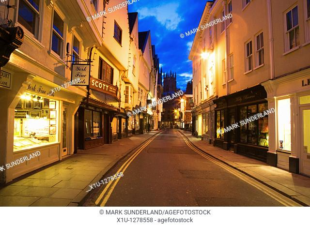 Low Petergate at Dusk looking toward The Minster York Yorkshire UK