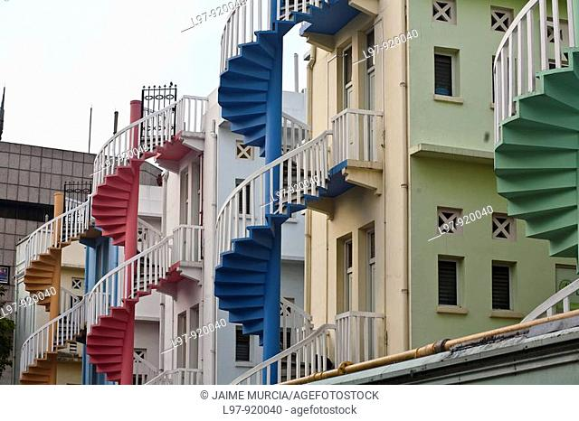 Spiral colored staircase singapore