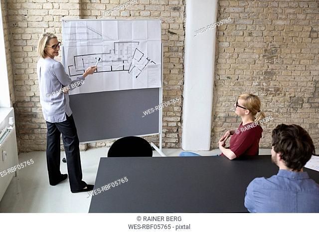 Mature businesswoman explaining floor plan to colleagues