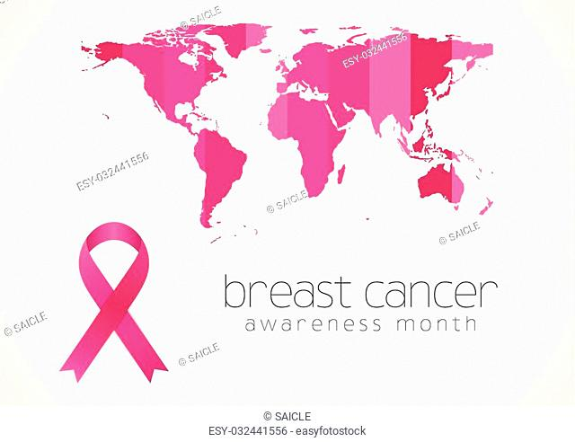 Breast cancer awareness pink ribbon and map design. Vector background
