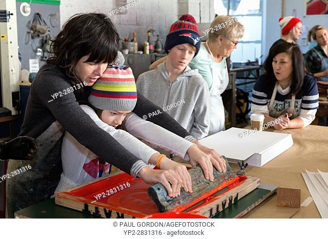 Seattle, Washington: Supporters turned out in droves at the Screen Printing Work Party on Saturday for the Womxn's March on Seattle