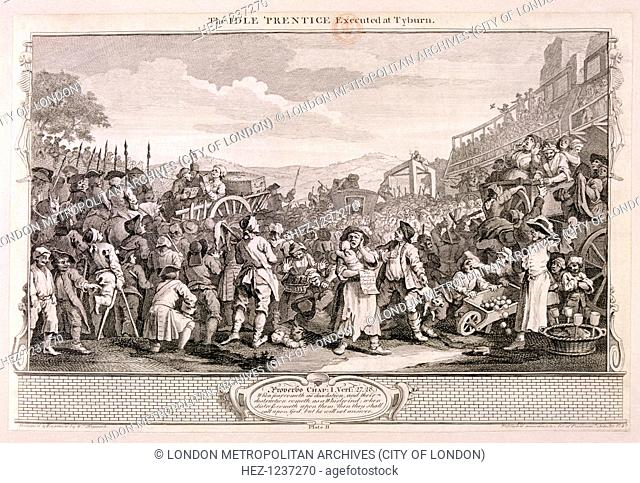 'The idle 'prentice executed at Tyburn', plate XI of Industry and Idleness, 1747; The crowds gather at Tyburn to watch Idle's execution
