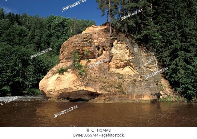 rock Zvartas in Gaujas nationalpark, Latvia, Riga area, NP Gaujas
