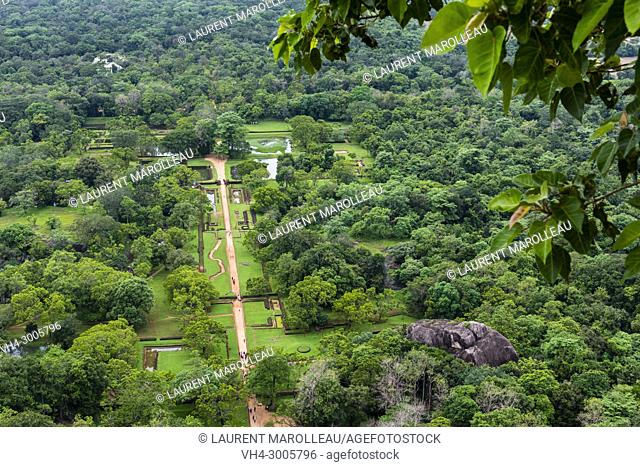 The Water Gardens seen from the top of Sigiriya Lion Rock Fortress, Ancient City of Sigiriya, North Central Province, Sri Lanka, Asia