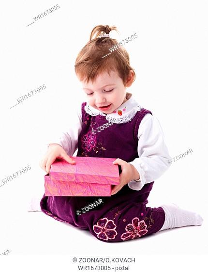 Girl with pink box