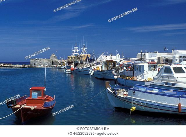 Greece, Paros, Greek Islands, Naoussa, Cyclades, Europe, Fishing boats docked in Naoussa Harbor on Paros Island on the Aegean Sea