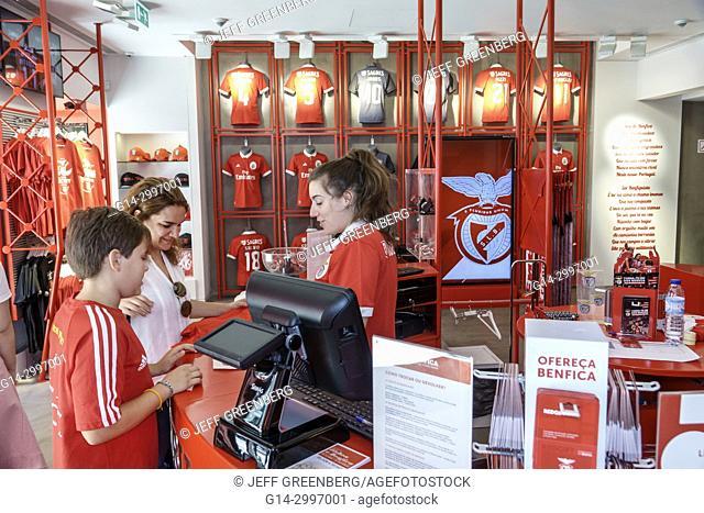 Portugal, Lisbon, Baixa-Chiado, Rua dos Sapateiros, Benfica, Portuguese football team, official store, sports merchandise, tee, t-shirts, shopping, woman, boy