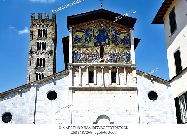 The Basilica of San Frediano is a Romanesque church, situated on the Piazza San Frediano. Lucca, Province of Lucca, Tuscany, Italy, Europe