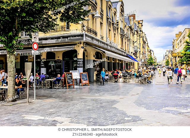 Cafe on the corner of Rue Condorcet in Reims France